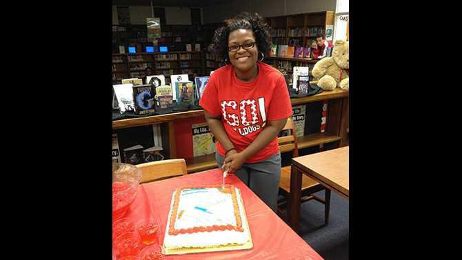 IMG 1352-Nicka-Grimes-CMS-Teacher-of-the-Year-presented-gift-and-cake-from-PTA-on-Nov.-12
