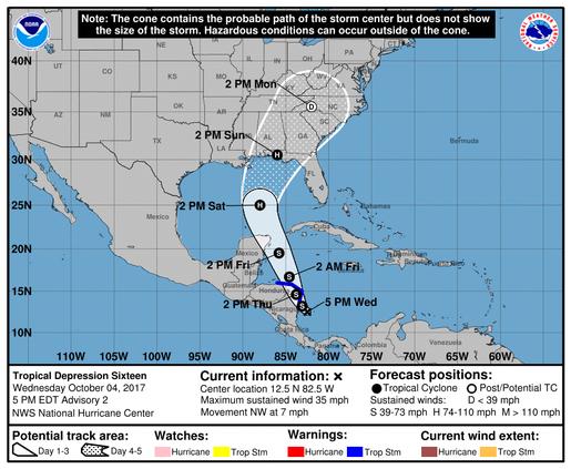 Tropical Depression 16 Forecast Cone (5 p.m. Wednesday, Oct. 4)