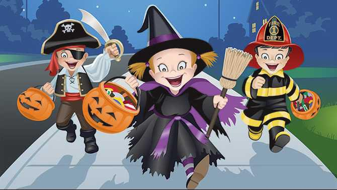 Kids in Halloween costumes running TF12A535