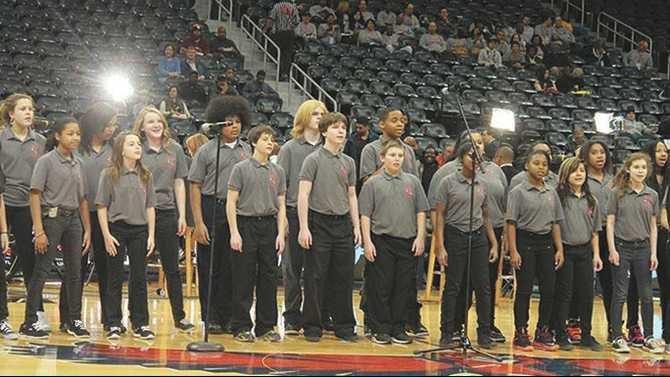 Cousins-Cheerleaders-singing-at-Hawks-pre-game