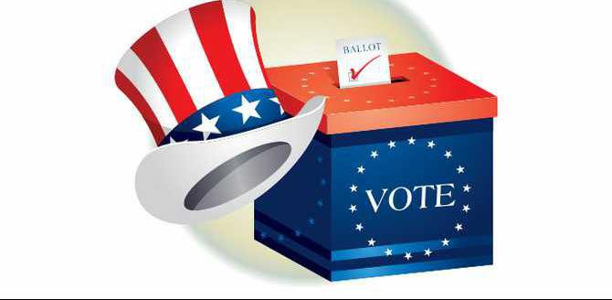 vote ballot box and Uncle Sam hat