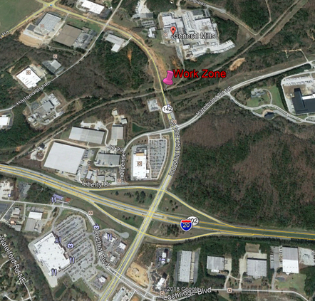Industrial Park Blvd bridge lane closure upcoming near I-20
