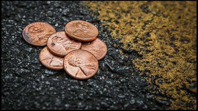 pennies on the road - TSPLOST illustration
